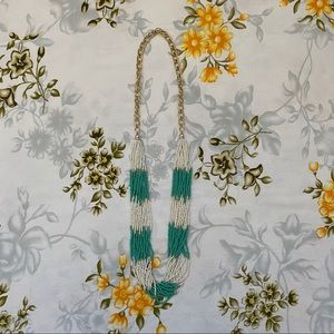 Jewelry - Turquoise & White Beaded Statement Necklace